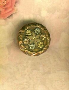Rose Gold Victorian Metal Stud Button W Rose Green Yellow Gold Flowers