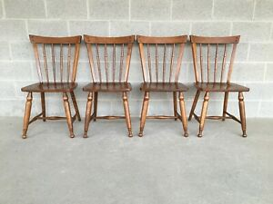 Ethan Allen Heirloom Maple Squire Chairs Set Of 4 10 6102 Mid Century Modern