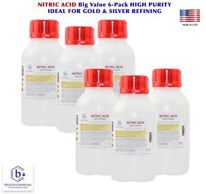 Bausch Nitric 70 Acid Hno3 Value 6 pack Highest Purity Gold And Silver Refining