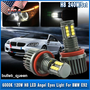 For Bmw E90 E91 E92 E93 Cree 12 led 120w H8 Angel Eyes Halo Ring Light Bulbs Usa