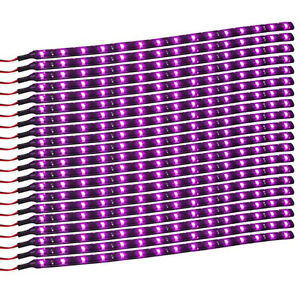 20pcs 12v 15 Led 30cm Car Motor Vehicle Flexible Waterproof Strip Light Purple