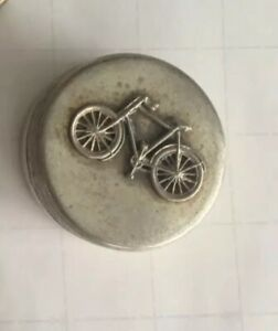 Vintage Sterling Silver Trinket Box With Bicycle