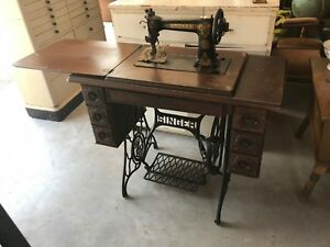 Vintage Antique Singer Treadle Sewing Machine Cabinet Accessories Iron Legs