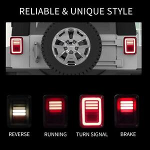 Combo Led Tail Lights Brake Turn Signal Smoke For Jeep Wrangler Jk 07 17 Dynamic