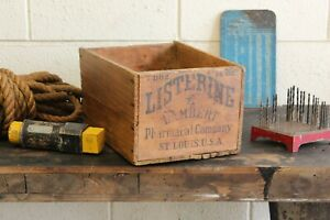 Vintage Industrial Wooden Listerine Advertising Shipping Crate Box