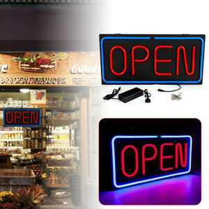 Open Neon Sign Led Visual Artwork Bar Club Wall Decor Business Light 24x12 Inch