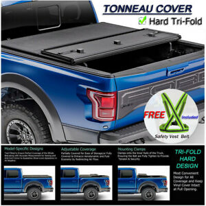 For 2014 2019 Toyota Tundra Lock Hard Solid Tri Fold Tonneau Cover 8ft 96 Bed