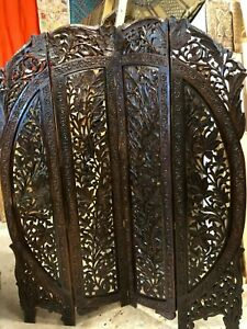 Arched Carved Lotus 4 Panel Screen Room Divider Dark India Rosewood Headboard Qn