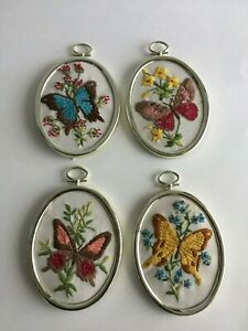 4 Vintage Small Needlepoint Butterfly Picture Oval Plastic Frame 4 X 3