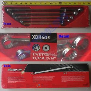 New Snap On 12 Pt Hi performance 15 Offset Standard Box Wrench 5 Pcs Set Xdh605