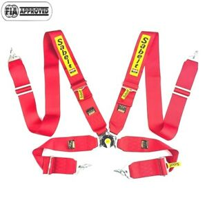 Sabelt Universal Red 4 Point Camlock Quick Release Racing Seat Belt Harness 3