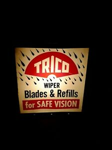 Vintage 50s 60s Trico Lighted Sign Windshield Wiper Gas Oil Sign Service Station