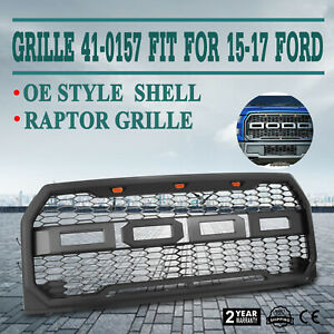 Grille For 15 17 Ford F 150 F150 Raptor Conversion Style Gray Abs Plastic Set
