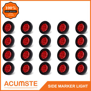 20pc Red 2 Round 9 Led Side Marker Clearance Light Kit Grommet Wire Plug