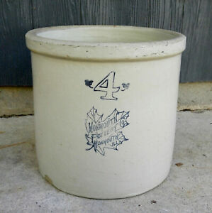 Rare Vintage Western Monmouth Pottery 4 Gallon Double Stamped Stoneware Crock