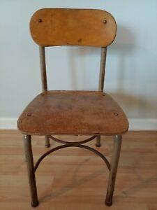 Vintage Rustic Decor Norcor Child Size Wood Chair Youth School Desk Mid Century