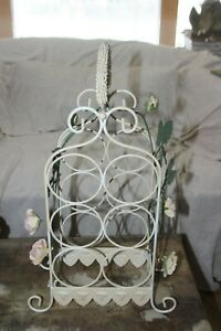 French Country Wine Bottle Rack Cottage Vintage Shabby Chic Pink Roses Tole