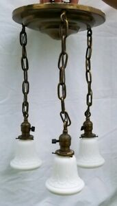 Vintage Art Deco Ceiling Fixture 3 Frosted Milk Glass Shades All Brass Light 20s