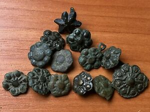 Lot Of 13 Ancient Roman Bronze Belt Mounts Circa 200 400 Ad Very Rare