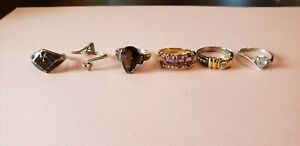 6 Piece Vintage Signed 925 Sterling Silver Ring Lot Not Scrap 22 6g Rings Topaz