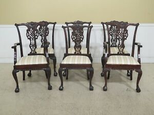 Lf47420ec Set Of 6 Vintage English Chippendale Mahogany Dining Room Chairs