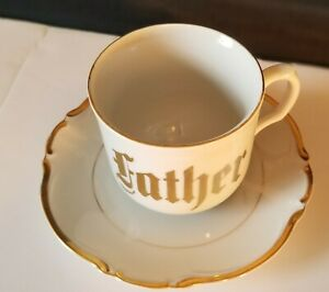 Beautiful Gold Lettered Father Coffee Tea Porcelain Cup Saucer Germany