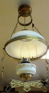Vintage Brass With Milk Glass Shade Hanging Parlor Queen Anne Oil Lamp