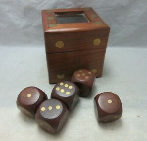5 Wood Dice Brass Inlay In Wood Storage Box