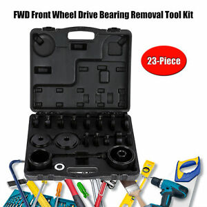 Fwd Front Wheel Drive Bearing Removal Adapter Puller Pulley Tool Kit W case 23pc