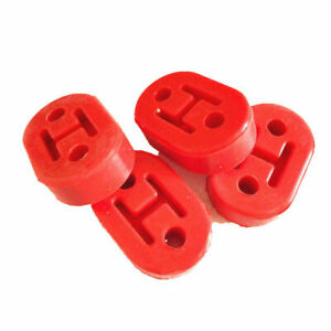 4pcs Exhaust Mount Rubber Insulator Hanger 2 Holes Rod Support Red For Honda Etc