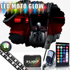 4x 18 Color Led Car Truck Interior Lighting Light Accent Glow Kit W power Switch