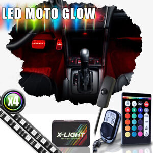 18 color Led Interior Light Kit 4pc 24 inch Smart Strips With Dimmer