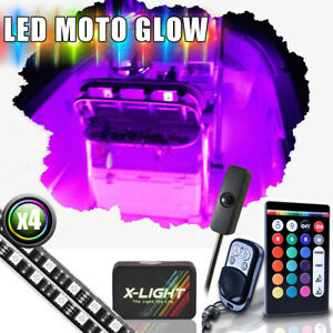 4pc 24 Rgb w Led Boat Marine Deck Cabin Neon Accent Light Kit Music Active
