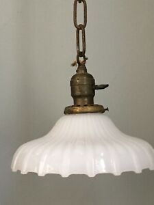 Antique Vtg 1920s Art Deco Original Pendant Ceiling Light Fixture Glass Shade