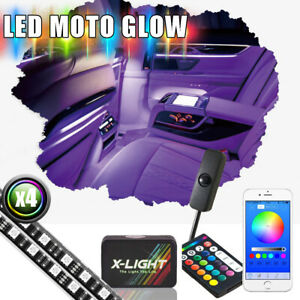 4pc 24 Bluetooth App Control Multi Color Footwell Interior Accent Led Light Kit