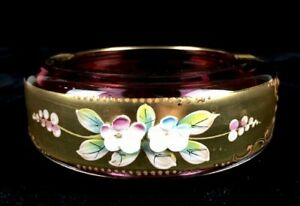 Antique 4 5 Czech Cranberry Glass Ashtray Hand Painted Raised Florals On Gold