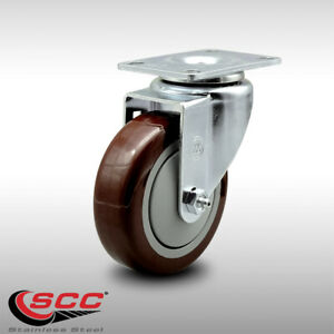 Service Caster 4 Poly Wheel Stainless Swivel Caster 300 Lbs Capacity