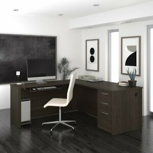 Bestar Embassy L shaped Computer Desk With Filing Brown 86 4w X 66d X 30 4h In