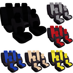 9pcs Set Car Seat Covers Universal Front Rear Full Head Rests Polyester Fabric