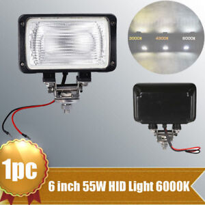 1x 6 3 55w Xenon Hid Work Light Flood 6000k White For Offroad Truck Atv 4x4 Suv