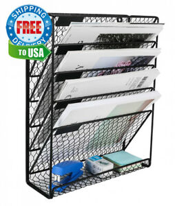 Pag Hanging File Holder Organizer Metal Chicken Wire Wall Mount Black