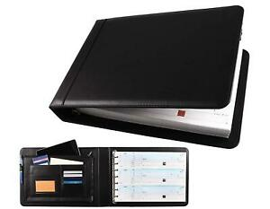 Business 3 up Checkbook 7 Rings Binder Pu Leather Cover Storage Organizer Black