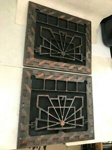 2 Antique Arts Craft Deco Copper Brass Plated Cast Iron Wall Heat Grate Register