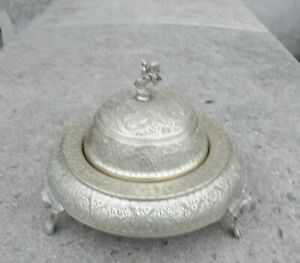 Silver Plate Domed Butter Dish W Greek Aegeon Pattern Floral Ice Well Cover