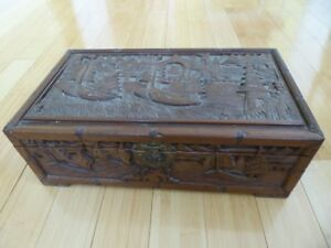 Antique Chinese Export Deep Carved Boats Wood Document Jewelry Box Chest 18x10