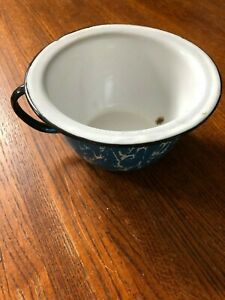 Rare Vintage Blue And White Swirl Enamelware Child S Potty