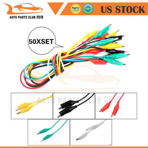 50 Set Color Double Ended Crocodile Clip Cable Alligator Probe Wire Testing New