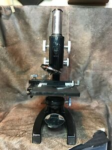 Vtg Bausch Lomb Microscope W 4 Extra Lenses Luggage Case ny Medical College
