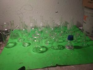 32 Pieces Chemistry Lab Glassware Assorted Lot Kimax And More Beaker Flask