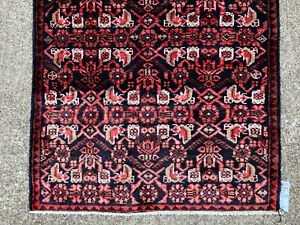 2x9 Black Antique Persian Runner Rug Wool Hand Knotted Coral Dark Blue Navy 3x9